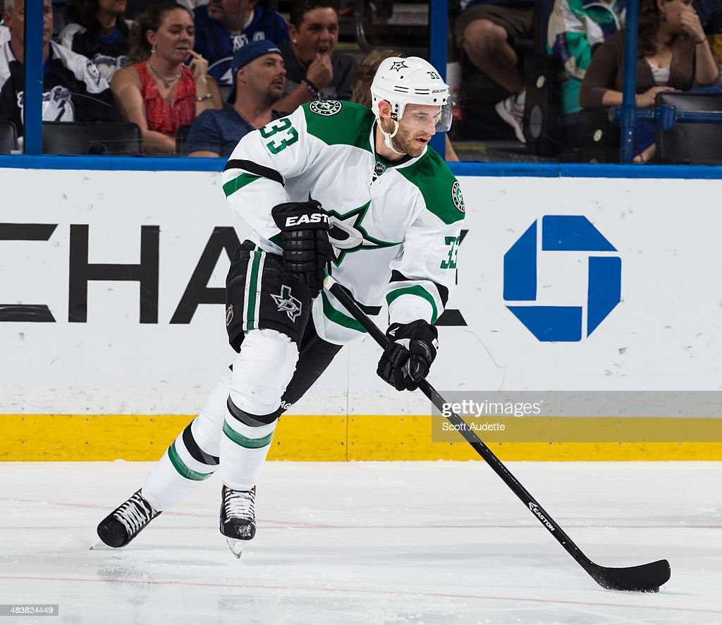 Alex Goligoski of the Dallas Stars skates against the Tampa Bay Lightning at the Tampa Bay Times Forum on April 5 2014 in Tampa Florida