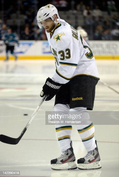 Alex Goligoski of the Dallas Stars skates in warm ups before the game against the San Jose Sharks at HP Pavilion at San Jose on March 31 2012 in San...