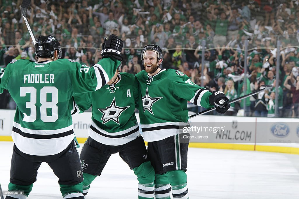Alex Goligoski Shawn Horcoff and Vernon Fiddler of the Dallas Stars celebrate a goal against the Anaheim Ducks in Game Four of the First Round of the...