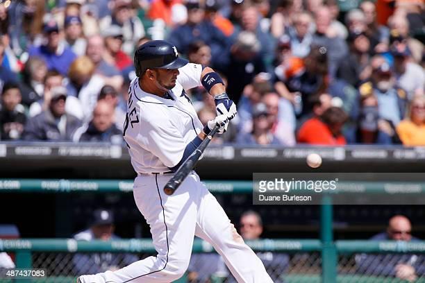 Alex Gonzalez of the Detroit Tigers bats against the Cleveland Indians at Comerica Park on April 17 2014 in Detroit Michigan