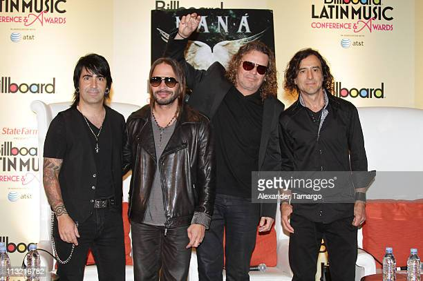 Alex Gonzalez Sergio Vallin Fher Olvera and Juan Calleros of the music group Mana attend the 2011 Billboard Latin Music Conference at Eden Roc a...