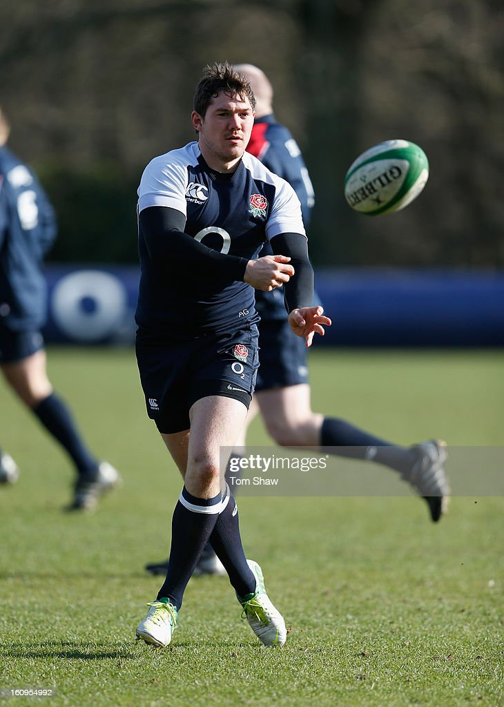 <a gi-track='captionPersonalityLinkClicked' href=/galleries/search?phrase=Alex+Goode&family=editorial&specificpeople=2060375 ng-click='$event.stopPropagation()'>Alex Goode</a> of England in action during the England training session at Pennyhill Park on February 8, 2013 in Bagshot, England.