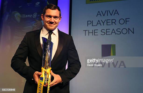 Alex Goode of Saracens poses after being presented with the Aviva Premiership Rugby Player of the Season award during the Aviva Premiership Rugby...