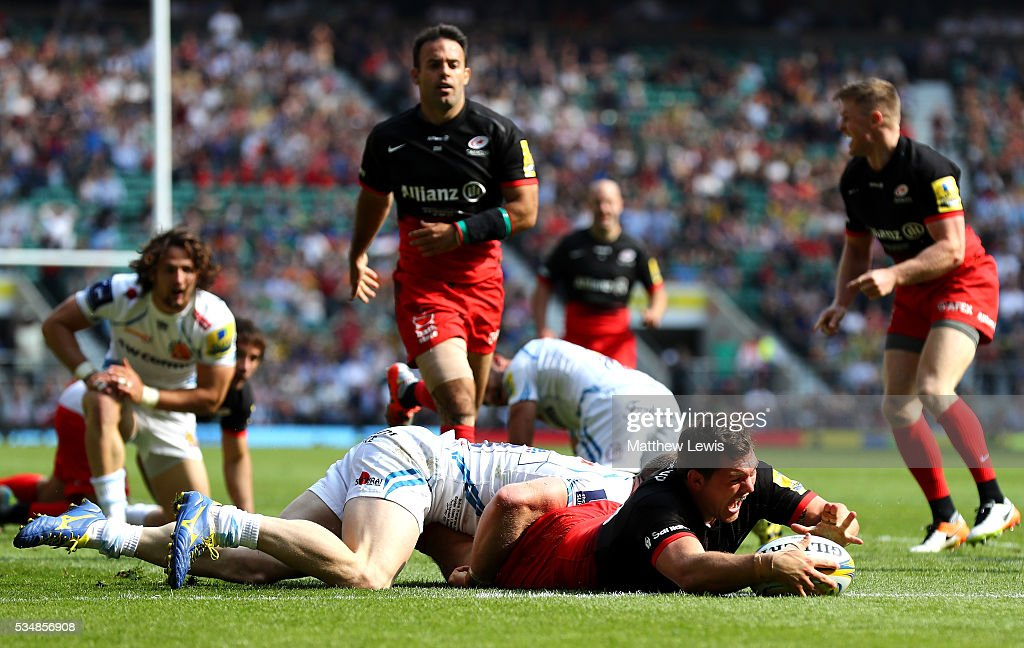 <a gi-track='captionPersonalityLinkClicked' href=/galleries/search?phrase=Alex+Goode&family=editorial&specificpeople=2060375 ng-click='$event.stopPropagation()'>Alex Goode</a> of Saracens scores his team's third try during the Aviva Premiership final match between Saracens and Exeter Chiefs at Twickenham Stadium on May 28, 2016 in London, England.