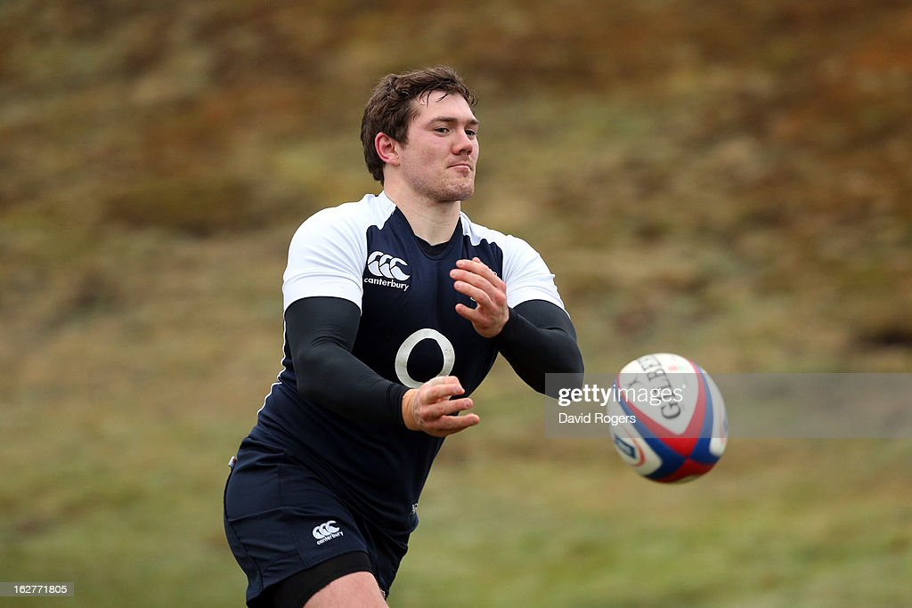 Alex Goode passes the ball during the England training session held at Pennyhill Park on February 26, 2013 in Bagshot, England.