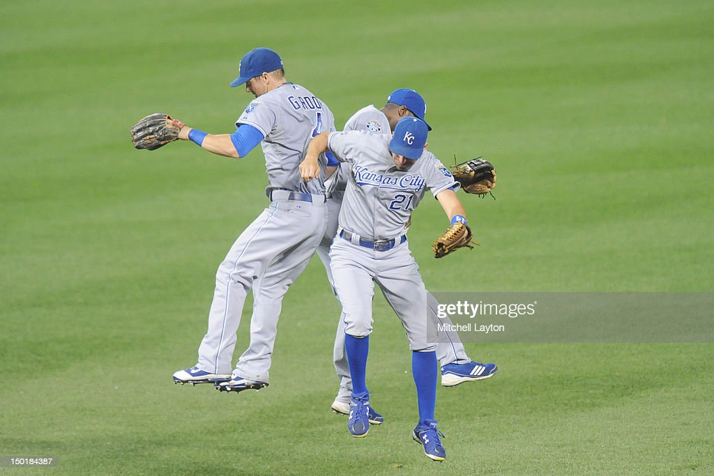 <a gi-track='captionPersonalityLinkClicked' href=/galleries/search?phrase=Alex+Gordon+-+Honkballer&family=editorial&specificpeople=4494252 ng-click='$event.stopPropagation()'>Alex Gordon</a> #4, Lorenzo Bain #6 and Jeff Francouer #21 of the Kansas City Royals celebrates a win after the game against the Baltimore Orioles on August 12, 2012 at Oriole Park at Camden Yards in Baltimore, Maryland. The Royals won 7-3.