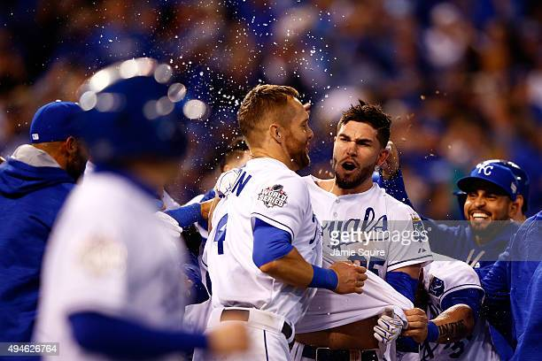 Alex Gordon of the Kansas City Royals and Eric Hosmer of the Kansas City Royals celebrate defeating the New York Mets 54 in Game One of the 2015...