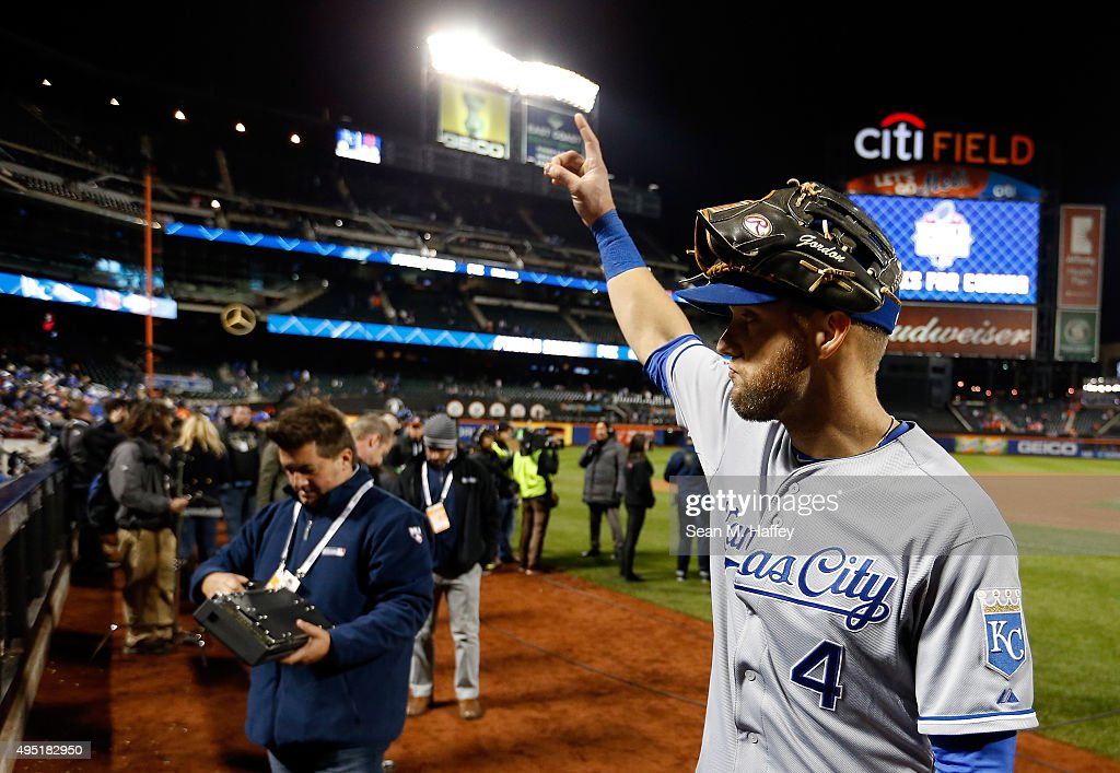 Alex Gordon #4 of the Kansas City Royals celebrates after defeating the New York Mets by a score of 5-3 to win Game Four of the 2015 World Series at Citi Field on October 31, 2015 in the Flushing neighborhood of the Queens borough of New York City.