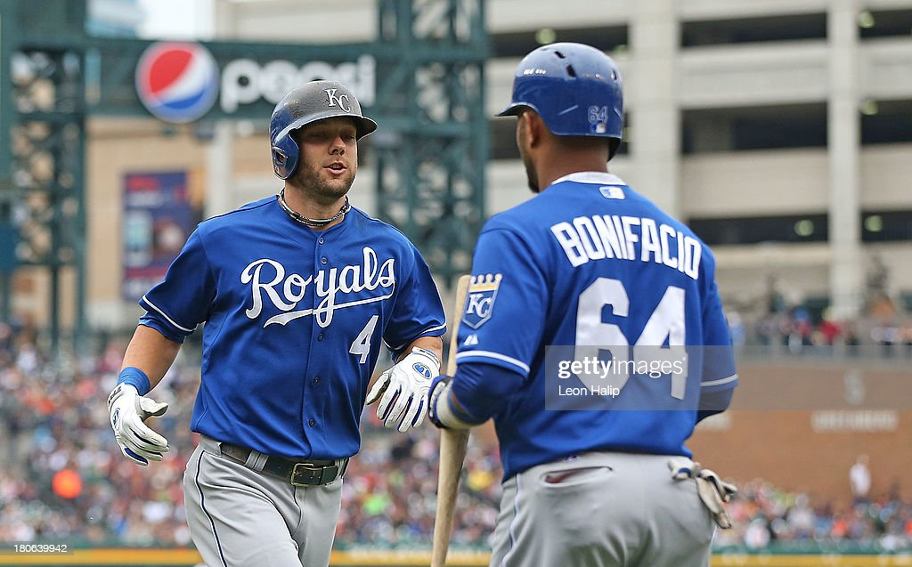 <a gi-track='captionPersonalityLinkClicked' href=/galleries/search?phrase=Alex+Gordon+-+Baseball+Player&family=editorial&specificpeople=4494252 ng-click='$event.stopPropagation()'>Alex Gordon</a> #4 of the Kansas City Royals celebrates with teammate <a gi-track='captionPersonalityLinkClicked' href=/galleries/search?phrase=Emilio+Bonifacio&family=editorial&specificpeople=4193706 ng-click='$event.stopPropagation()'>Emilio Bonifacio</a> #64 after hitting a solo home run to left field in the fourth inning of the game at Comerica Park on September 15, 2013 in Detroit, Michigan.