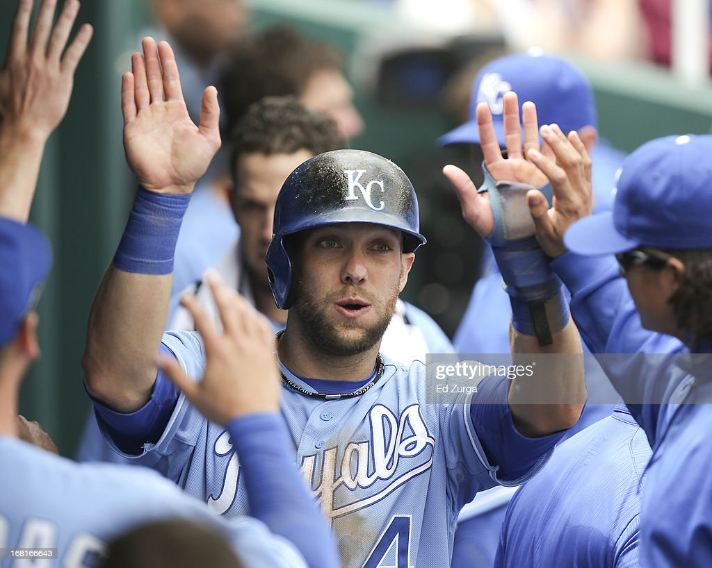 <a gi-track='captionPersonalityLinkClicked' href=/galleries/search?phrase=Alex+Gordon+-+Baseball+Player&family=editorial&specificpeople=4494252 ng-click='$event.stopPropagation()'>Alex Gordon</a> #4 of the Kansas City Royals celebrates with teammates after scoring on a Billy Butler double against the Chicago White Sox in the first inning at Kauffman Stadium on May 6, 2013 in Kansas City, Missouri.