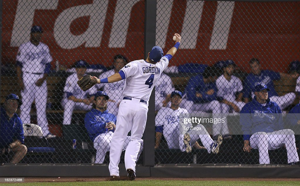 <a gi-track='captionPersonalityLinkClicked' href=/galleries/search?phrase=Alex+Gordon+-+Baseball+Player&family=editorial&specificpeople=4494252 ng-click='$event.stopPropagation()'>Alex Gordon</a> #4 of the Kansas City Royals fields a ball hit by Alex Rios of the Chicago White Sox in the second inning at Kauffman Stadium on September 19, 2012 in Kansas City, Missouri.