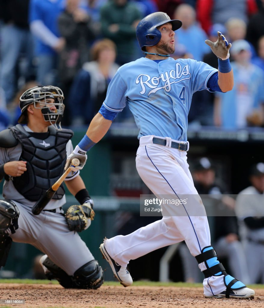 <a gi-track='captionPersonalityLinkClicked' href=/galleries/search?phrase=Alex+Gordon+-+Baseball+Player&family=editorial&specificpeople=4494252 ng-click='$event.stopPropagation()'>Alex Gordon</a> #4 of the Kansas City Royals hits a game-winning RBI single against the Chicago White Sox in the 10th inning at Kauffman Stadium on May 5, 2013 in Kansas City, Missouri. The Royals won 6-5.