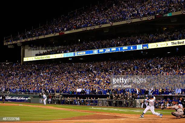 Alex Gordon of the Kansas City Royals hits a grounder out to second base in the fourth inning against WeiYin Chen of the Baltimore Orioles to score...