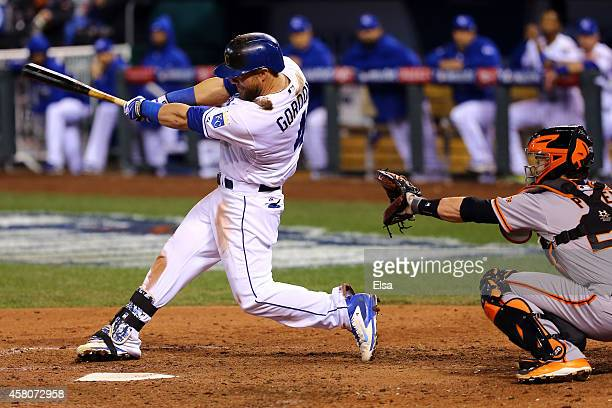 Alex Gordon of the Kansas City Royals hits a single in the ninth inning against the Kansas City Royals during Game Seven of the 2014 World Series at...