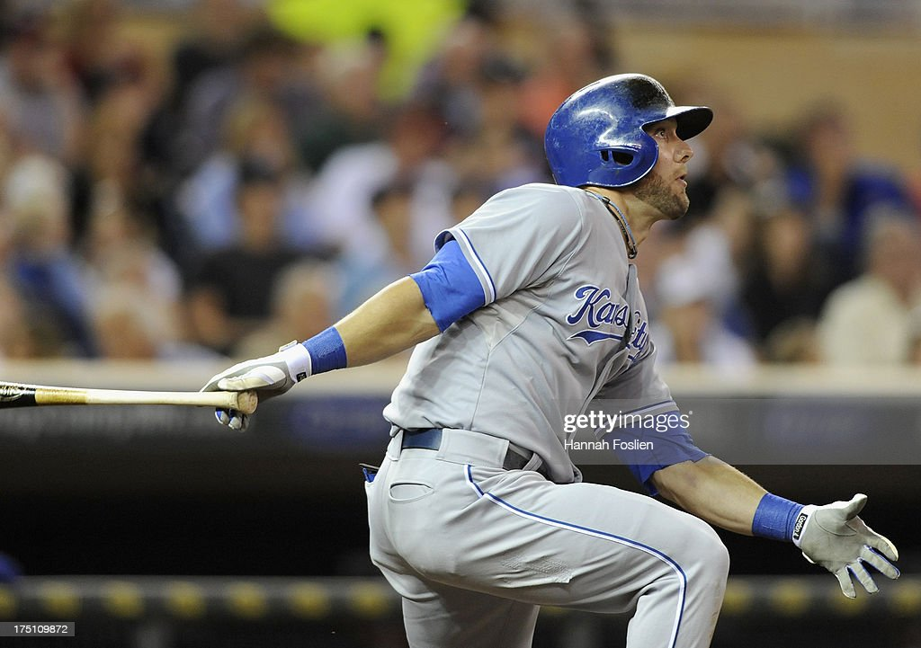 <a gi-track='captionPersonalityLinkClicked' href=/galleries/search?phrase=Alex+Gordon+-+Baseball+Player&family=editorial&specificpeople=4494252 ng-click='$event.stopPropagation()'>Alex Gordon</a> #4 of the Kansas City Royals hits a triple against the Minnesota Twins during the seventh inning of the game on July 31, 2013 at Target Field in Minneapolis, Minnesota. The Royals defeated the Twins 4-3.