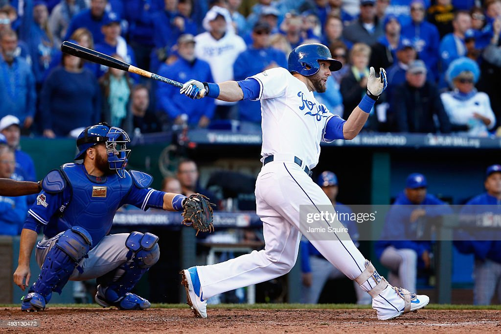 Alex Gordon #4 of the Kansas City Royals hits an RBI double to score Mike Moustakas #8 of the Kansas City Royals (not pictured) in the seventh inning against the Toronto Blue Jays in game two of the American League Championship Series at Kauffman Stadium on October 17, 2015 in Kansas City, Missouri.