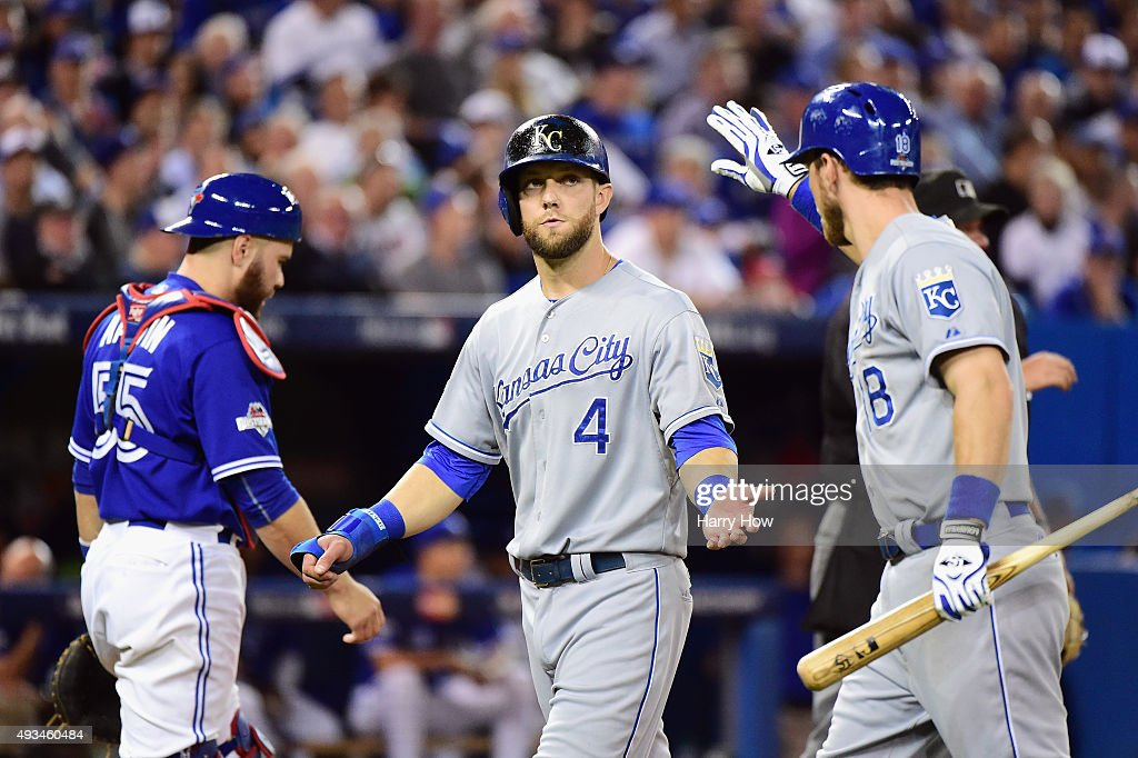 <a gi-track='captionPersonalityLinkClicked' href=/galleries/search?phrase=Alex+Gordon+-+Baseballspieler&family=editorial&specificpeople=4494252 ng-click='$event.stopPropagation()'>Alex Gordon</a> #4 of the Kansas City Royals reacts after scoring a run in the seventh inning against the Toronto Blue Jays during game four of the American League Championship Series at Rogers Centre on October 20, 2015 in Toronto, Canada.