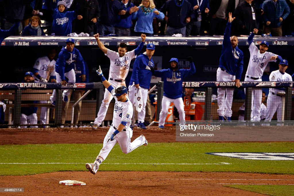 Alex Gordon #4 of the Kansas City Royals reacts as he runs the bases after hitting a solo home run in the ninth inning against the New York Mets during Game One of the 2015 World Series at Kauffman Stadium on October 27, 2015 in Kansas City, Missouri.
