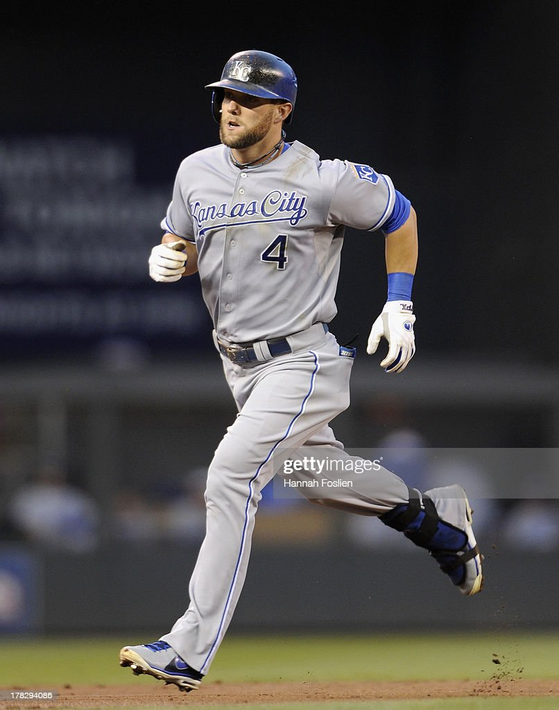 <a gi-track='captionPersonalityLinkClicked' href=/galleries/search?phrase=Alex+Gordon+-+Baseball&family=editorial&specificpeople=4494252 ng-click='$event.stopPropagation()'>Alex Gordon</a> #4 of the Kansas City Royals rounds the bases after he hit a solo home run against the Minnesota Twins during the third inning of the game on August 28, 2013 at Target Field in Minneapolis, Minnesota.