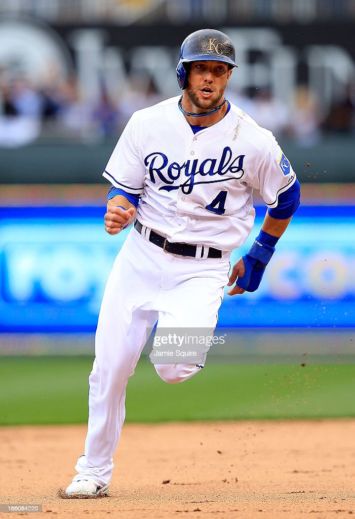 <a gi-track='captionPersonalityLinkClicked' href=/galleries/search?phrase=Alex+Gordon+-+Baseball+Player&family=editorial&specificpeople=4494252 ng-click='$event.stopPropagation()'>Alex Gordon</a> #4 of the Kansas City Royals rounds the bases on a hit by Alcides Escobar #2 and scores to make the score 2-1 during the 8th inning of the Kansas City Royals home opener against the Minnesota Twins at Kauffman Stadium on April 8, 2013 in Kansas City, Missouri.