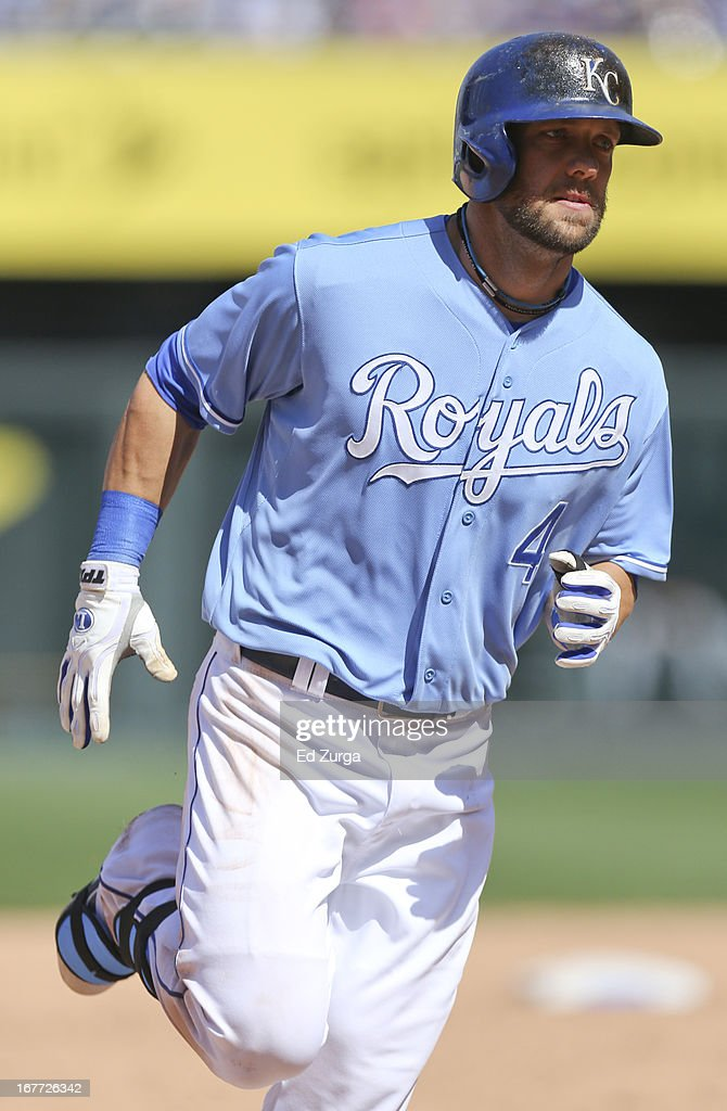 <a gi-track='captionPersonalityLinkClicked' href=/galleries/search?phrase=Alex+Gordon+-+Baseball+Player&family=editorial&specificpeople=4494252 ng-click='$event.stopPropagation()'>Alex Gordon</a> #4 of the Kansas City Royals rounds third after hitting a two-run home run in the eighth inning during game one of a doubleheader against the Cleveland Indians at Kauffman Stadium on April 28, 2013 in Kansas City, Missouri.