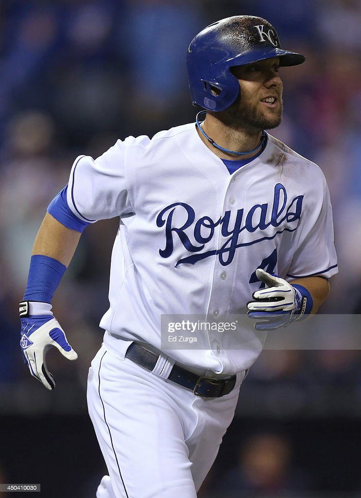 <a gi-track='captionPersonalityLinkClicked' href=/galleries/search?phrase=Alex+Gordon+-+Baseball+Player&family=editorial&specificpeople=4494252 ng-click='$event.stopPropagation()'>Alex Gordon</a> #4 of the Kansas City Royals runs to first after hitting a home run in the eighth inning against the Cleveland Indians at Kauffman Stadium on June 10, 2014 in Kansas City, Missouri.