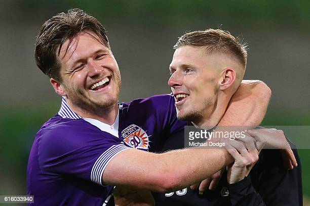 Alex Grant of the Glory and Andy Keogh celebrates the win during the round three ALeague match between Melbourne City FC and Perth Glory at AAMI Park...
