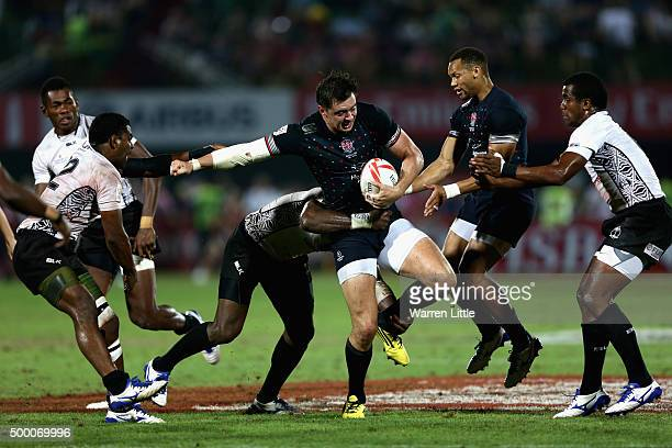 Alex Gray of England in action against Fiji in the Cup Final during the Emirates Dubai Rugby Sevens HSBC World Rugby Sevens Series at The Sevens...