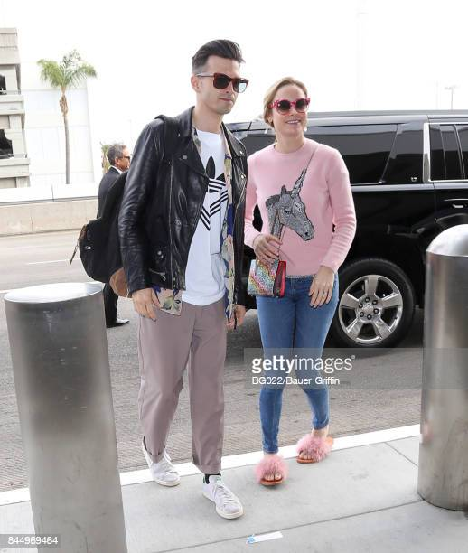 Alex Greenwald and Brie Larson are seen at LAX on September 09 2017 in Los Angeles California