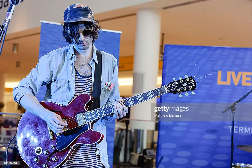 Alex Greenwald of the band JJAMZ performs for the CMJ Music Marathon at JetBlue's 'Live From T5 Concert Series' in John F. Kennedy International Airport on October 17, 2012 in New York City.