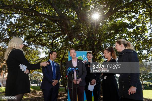 Alex Greenwich Australian Marriage Equality Tiernan Brady The Equality Campaign Anna Brown Human Rights Law Centre are seen during a media conference...