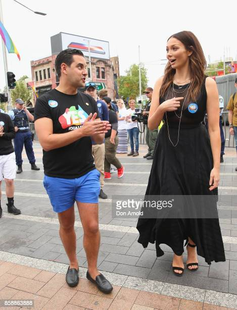 Alex Greenwich chats to Ricki Lee Coulter at a Marriage Equality rally in Taylor Square on October 8 2017 in Sydney Australia Australians are...
