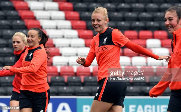 Alex Greenwood Natasha Harding Sophie Ingle and Katie Zelem of Liverpool Ladies during a training session at Select Security Stadium on April 13 2017...