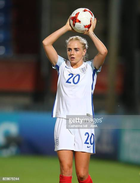 Alex Greenwood of England Women takes a throw in during the UEFA Women's Euro 2017 match between Portugal and England at Koning Willem II Stadium on...