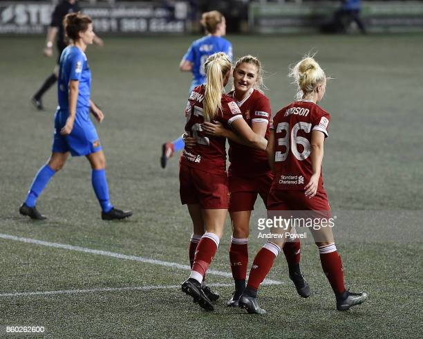 Alex Greenwood of Liverpool Ladies celebrates after having her cross scored during the Women's Super League match between Liverpool Ladies and...