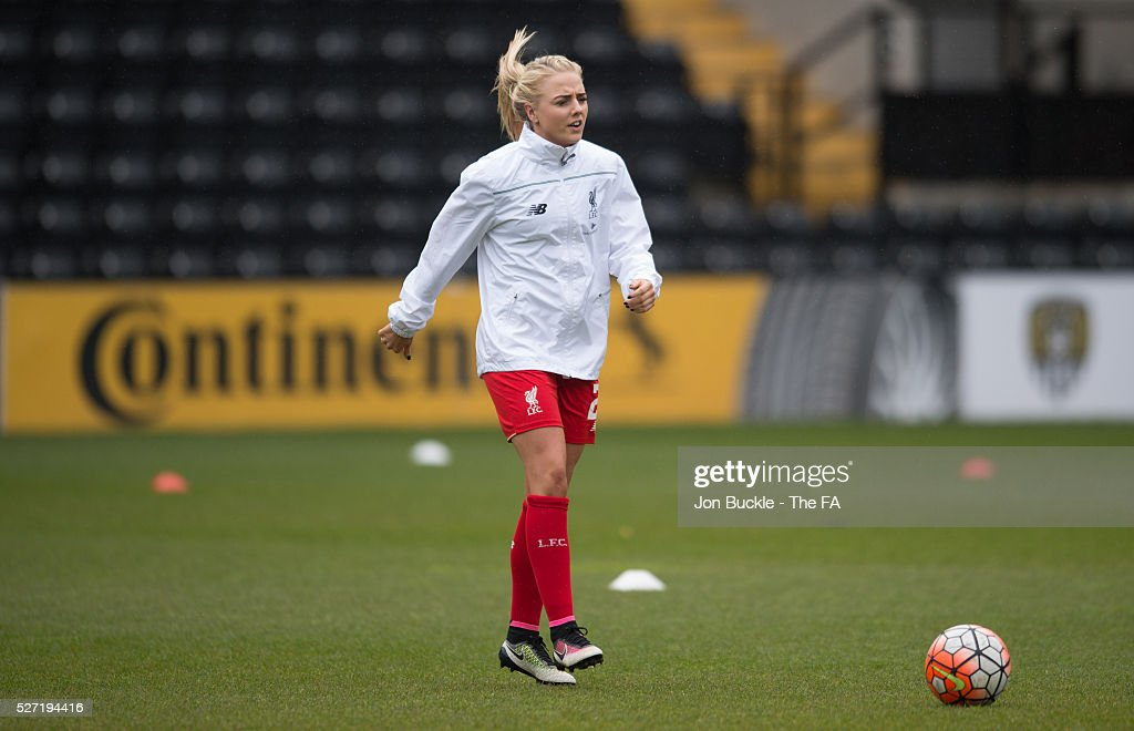 Alex Greenwood of Liverpool Ladies FC warms up prior to kick off for the match between Notts County Ladies FC v Liverpool Ladies FC on May 2, 2016 in Nottingham, England.