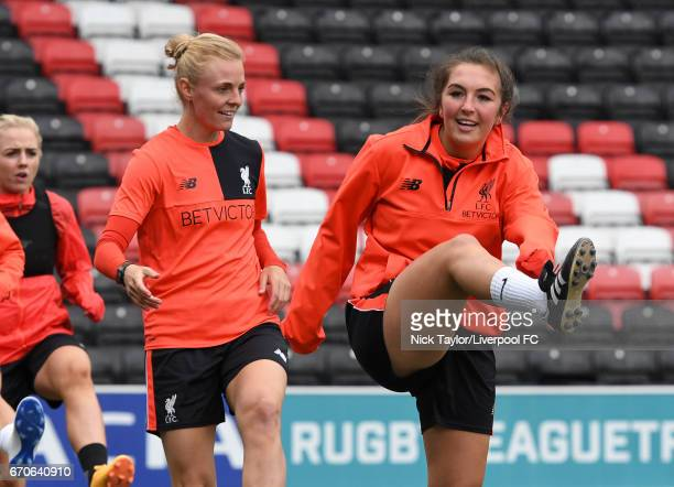 Alex Greenwood Sophie Ingle and Katie Zelem of Liverpool Ladies during a training session at Select Security Stadium on April 13 2017 in Widnes...