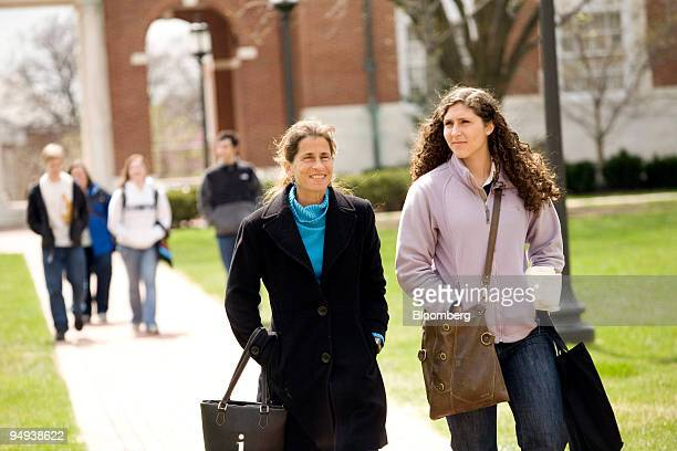Alex Grieb aged 18 right and her mother Joy Cohen both of New Orleans Louisiana tour the campus at Johns Hopkins University during a welcoming for...