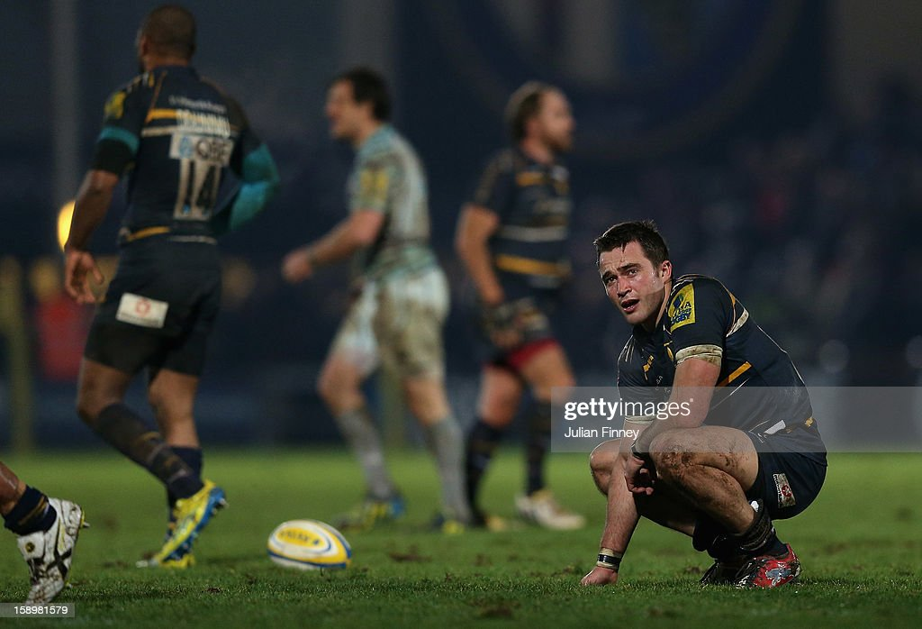 <a gi-track='captionPersonalityLinkClicked' href=/galleries/search?phrase=Alex+Grove&family=editorial&specificpeople=4950169 ng-click='$event.stopPropagation()'>Alex Grove</a> of Worcester looks dejected after losing to Leicester during the Aviva Premiership match between Worcester Warriors and Leicester Tigers at Sixways Stadium on January 4, 2013 in Worcester, England.