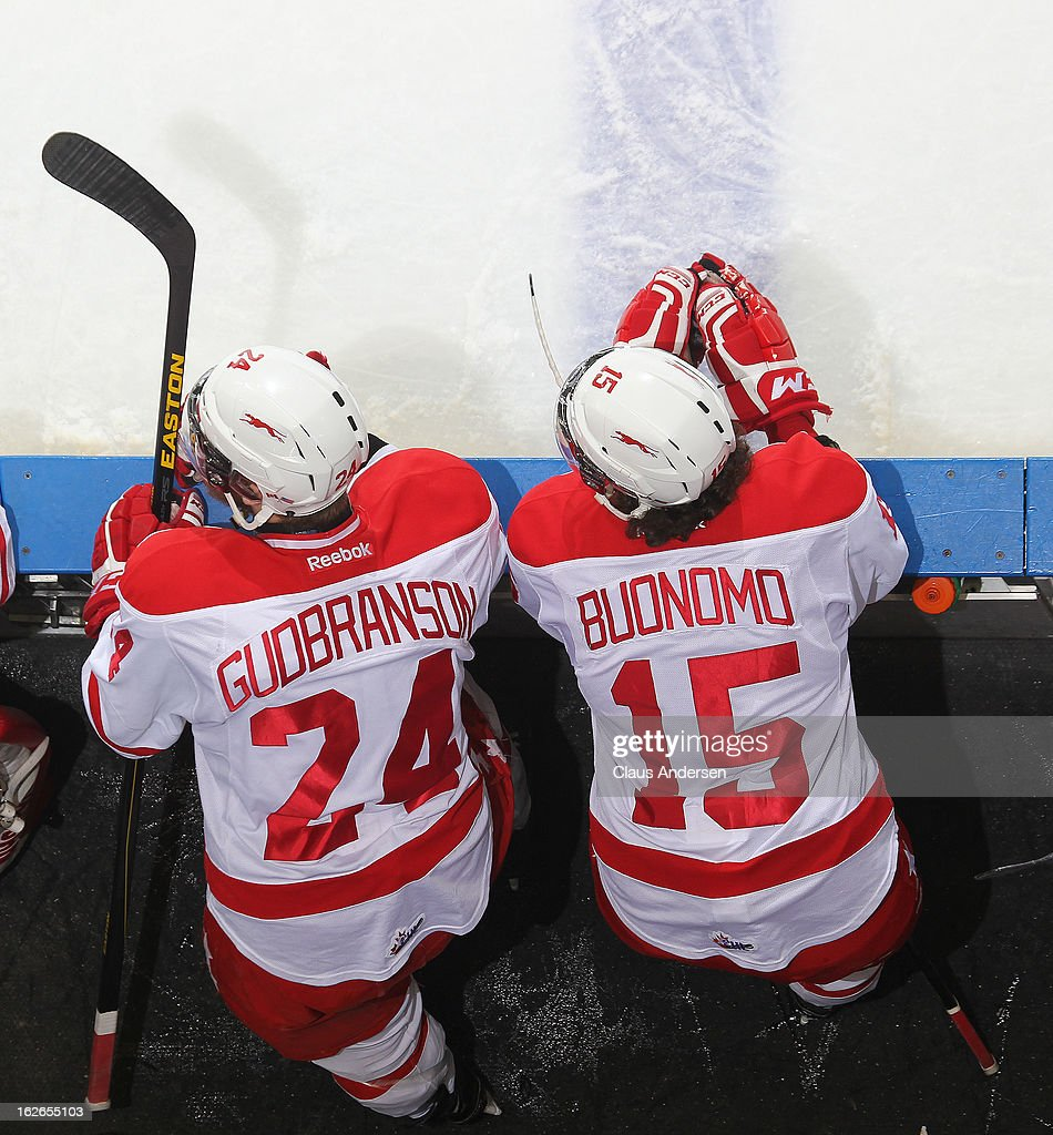 Alex Gudbranson #24 and Chris Buonomo #15 of the Sault Ste. Marie Greyhounds watch the play from the bench in an OHL game against the London Knights on February 22, 2013 at the Budweiser Gardens in London, Ontario, Canada. The Knights defeated the Greyhounds 4-3 in overtime.
