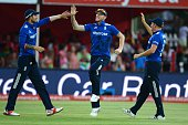 Alex Hales and Ben Stokes of England celebrate the wicket of Faf du Plessis of the Proteas during the 1st Momentum ODI Series match between South...
