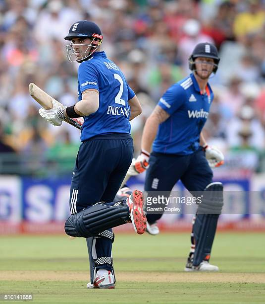 Alex Hales and Ben Stokes of England run between the wickets during the 5th Momentum ODI match between South Africa and England at Newlands Stadium...