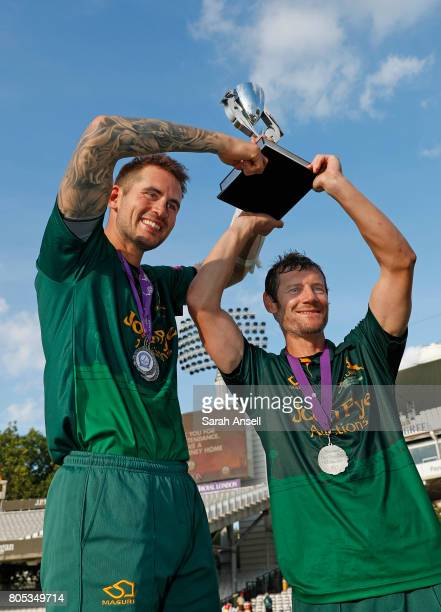 Alex Hales and Chris Read of Nottinghamshire with the Royal London OneDay Cup Trophy at Lord's Cricket Ground on July 1 2017 in London England