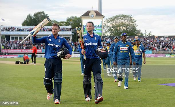 Alex Hales and Jason Roy of England salute the crowd as they leave field after winning the 2nd ODI Royal London OneDay match between England and Sri...