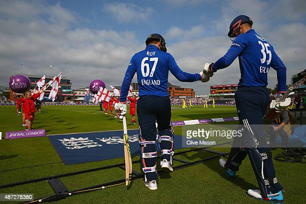 Alex Hales and Jason Roy of England take to the pitch during the 3rd Royal London OneDay International match between England and Australia at Old...