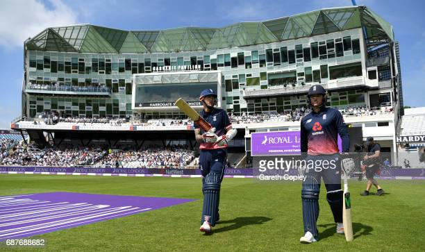 Alex Hales and Jason Roy of England walk on to the field ahead the 1st Royal London ODI match between England and South Africa at Headingley on May...