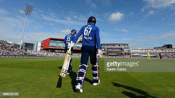 Alex Hales and Jason Roy of England walk out ahead of the 5th Royal London OneDay International match between England and Australia at Old Trafford...