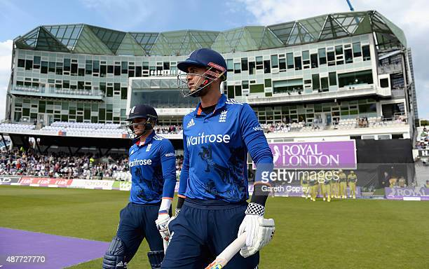 Alex Hales and Jason Roy of England walk out to bat during the 4th Royal London OneDay International match between England and Australia at...