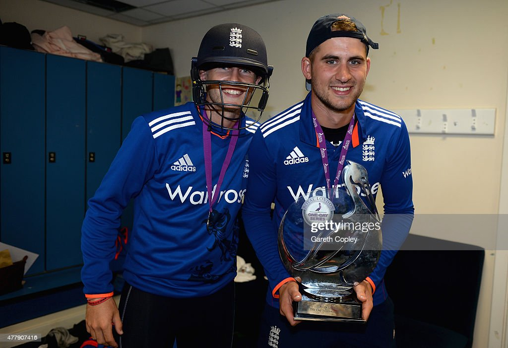 Alex Hales and Joe Root of England celebrate in the dressing room after winning the 5th ODI Royal London OneDay match between England and New Zealand...