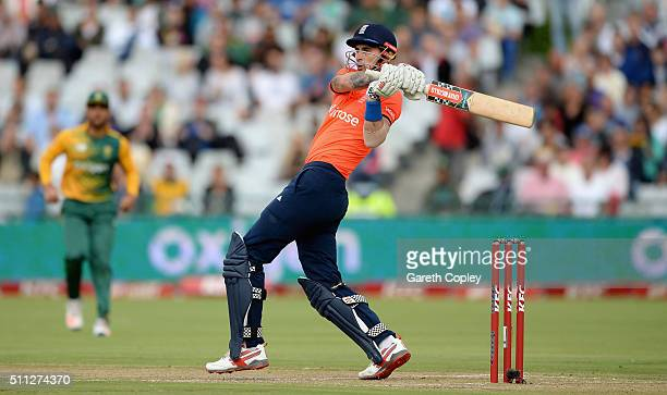 Alex Hales of England bats during the 1st KFC T20 International match between South Africa and England at Newlands on February 19 2016 in Cape Town...